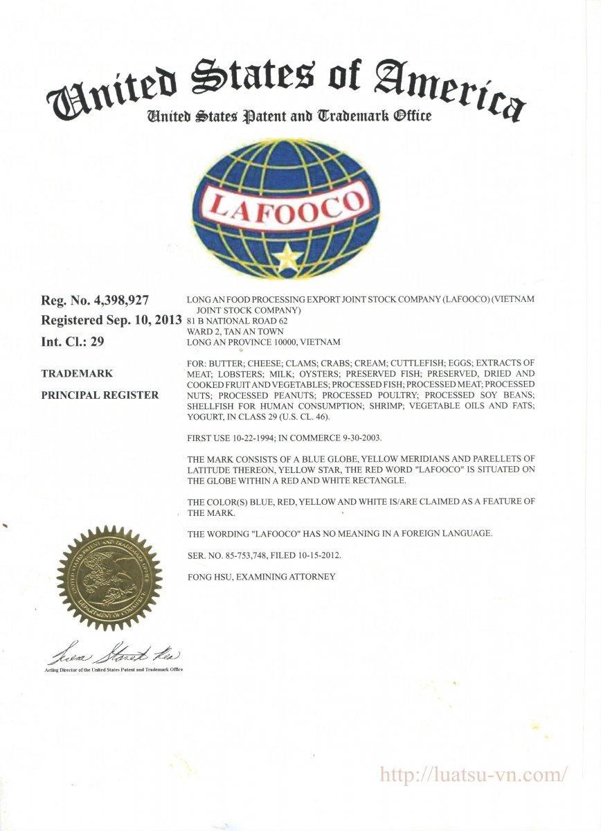 đăng ký nhãn hiệu LAFOOCO_certificate