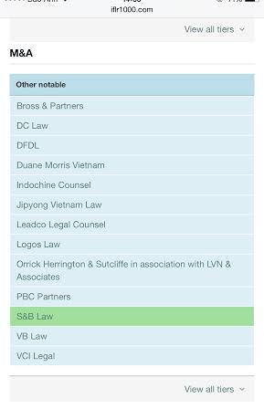 unnamed 1 Lĩnh vực tư vấn M&A của SBLAW được The IFLR 1000 trao giải thưởng Luật sư uy tín Việt Nam